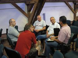 One of the eight discussion groups